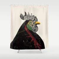 rooster Shower Curtains featuring Rooster by Urška Hočevar