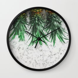 Pineapples & gray marble Wall Clock