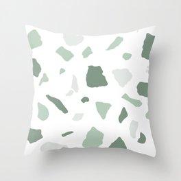 abstract terrazzo stone pattern sage green white Throw Pillow