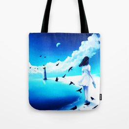 Lighthouse At The Sea Tote Bag