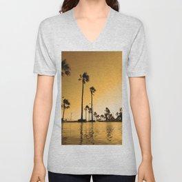 Sunset and palm trees Unisex V-Neck