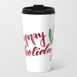 Happy Holidays - red and green Metal Travel Mug