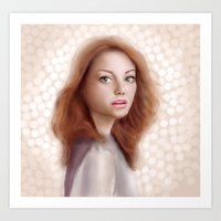 emma stone Art Prints featuring Emma Stone by Jessica Guetta