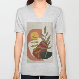 Two Abstract Branches Unisex V-Neck