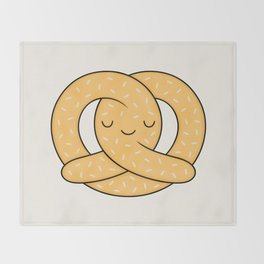 Happy Pretzel Throw Blanket
