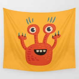 Funny Orange Monster Is Happy Wall Tapestry