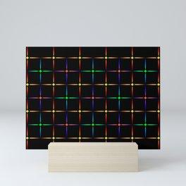 Neon diamonds. Pattern or background of multicolored neon stars on a black background Mini Art Print