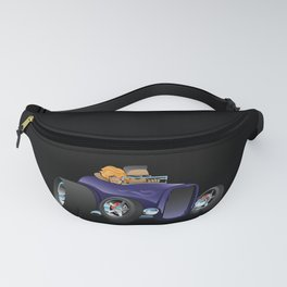 Highboy hot rod deep purple roadster with driver and cute passenger Fanny Pack