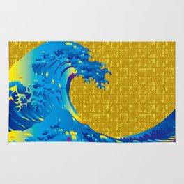 Hokusai Big Wave on Gold-leaf Screen Rug