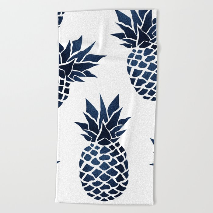 Pineapple Blue Denim Beach Towel