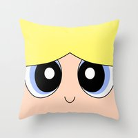 powerpuff girls Throw Pillows featuring Bubbles -The Powerpuff Girls- by CartoonMeeting