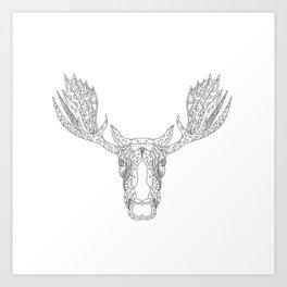Bull Moose Head Doodle Art Print