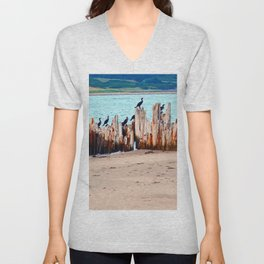 Perched on Wharf Remains Unisex V-Neck