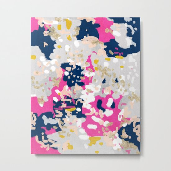 Michel - Abstract, girly, trendy art with pink, navy, blush, mustard for cell phones, dorm decor etc Metal Print