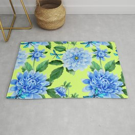Modern blue lime punch watercolor dahlia floral pattern Rug