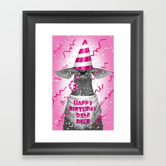 Happy birthday dear deer Framed Art Print