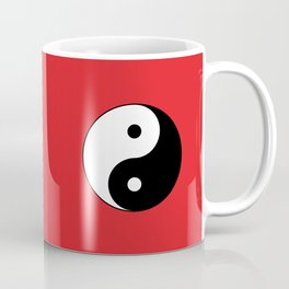 Yin and yang Symbol on red Coffee Mug