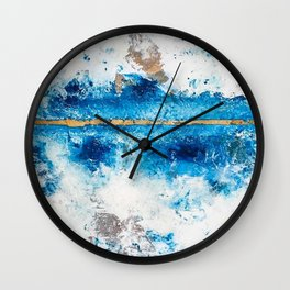 Blue Skies: a pretty, minimal abstract mixed-media piece in blue, white and gold Wall Clock