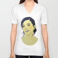 emma watson V-neck T-shirts featuring Emma Watson funny face by Esther Cerga
