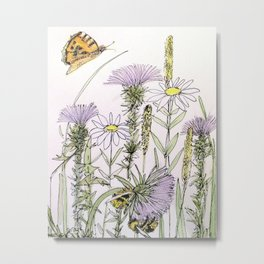 Bees Butterfly Thistle Watercolor Illustration Nature Art Metal Print
