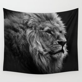 Black Print Lion Wall Tapestry