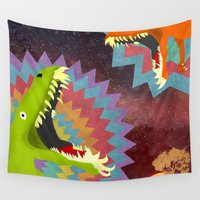 dinosaurs Wall Tapestries featuring DINOSAURS by Cody Weber