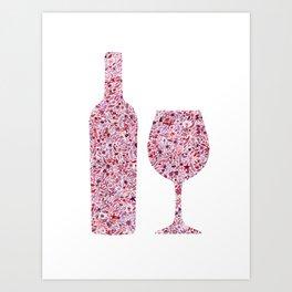 Wine Floral Watercolor Art Print