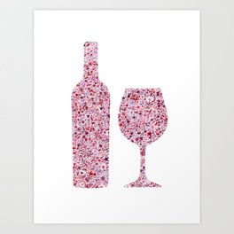 Wine Floral Watercolor Art Print