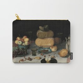Still Life with Cheese, grapes, wine, bread and more. Finest art from the 17th century. Carry-All Pouch