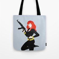 black widow Tote Bags featuring Black Widow by keygrin