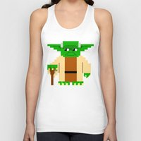 pixel Tank Tops featuring Pixel Yoda by Silvio Ledbetter