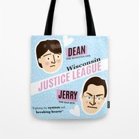 justice league Tote Bags featuring Dean Strang & Jerry Butin - Wisconsin Justice League by Kodiak Milly