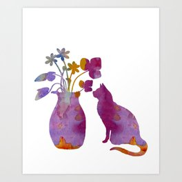 Cat and flowers Art Print