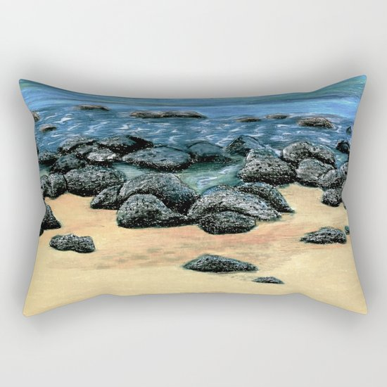 Poipu Beach Landscape Rectangular Pillow