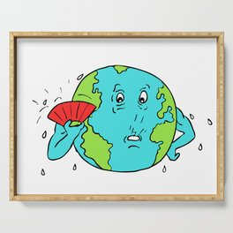 Earth Global Warming Drawing Color Serving Tray