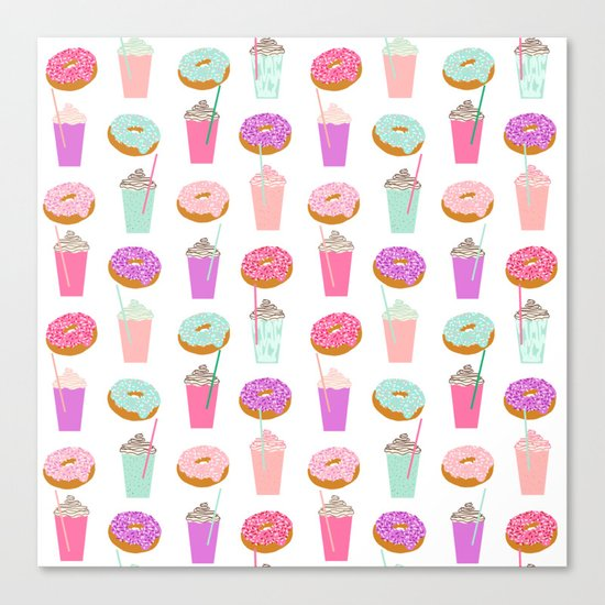 Coffee and Donuts pastel pink mint cute pattern gifts for valentines day love Canvas Print