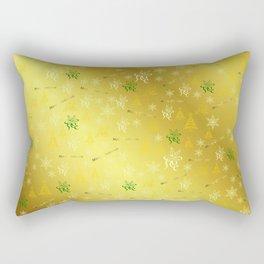 gold Merry christmas text in gold, beautiful reindeer, green fir trees, bright stars festive Rectangular Pillow