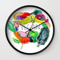 vegan Wall Clocks featuring Vegan  by BriannaCamp