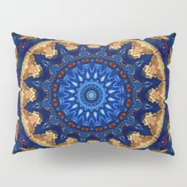 Royal Blue Gold Mandala Design Pillow Sham