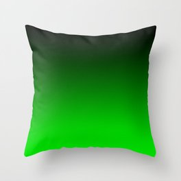 Black Lime Green Neon Nights Ombre Throw Pillow