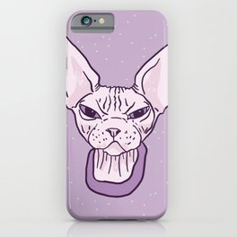 Lilac Point Seal Grumply Wrinkly Sphynx Kitty - Hairless Cat Illustration - Bad Cattitude - Line Tattoo Art iPhone Case