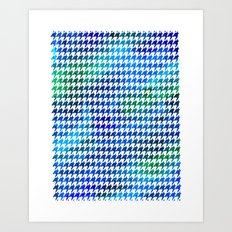 Houndstooth bright blue watercolor Art Print
