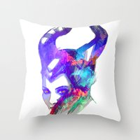 maleficent Throw Pillows featuring Maleficent by Ryky