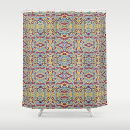 Multicolored Tribal Pattern Shower Curtain