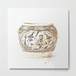 A CIZHOU PAINTED 'FIGURAL' JAR MING DYNASTY (1368-1644) watercolor by Ahmet Asar Metal Print