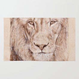Lion Portrait - Drawing by Burning on Wood - Pyrography Art Rug