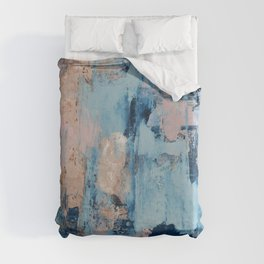 Sunbeam: a pretty abstract painting in pink, blue, and gold by Alyssa Hamilton Art Duvet Cover
