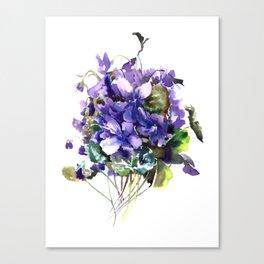 Violet flowers, wild violet flowers Canvas Print