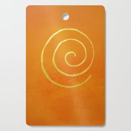Infinity Bright Orange With Gold Abstract Modern Art Painting Cutting Board