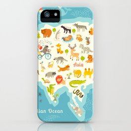 The most detailed animals world map, Eurasia. Also, birds, ocean life, reptiles, and mammals. Beauti iPhone Case